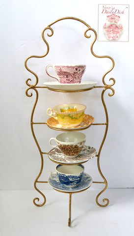 Vintage & Colorful Set of 4 Mix n Match Tea Party English Transferware Teacups and Saucers