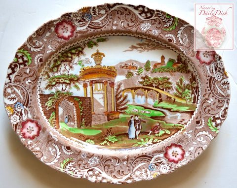 Vintage Brown English Transferware Chinoiserie Platter Strolling Couple Gazebo Geometric Border Landscape