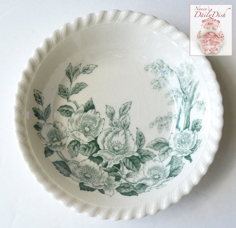 TEAL GREEN DOGWOOD BLOSSOMS ENGLISH TRANSFERWARE CANDY BOWL TRINKET DISH