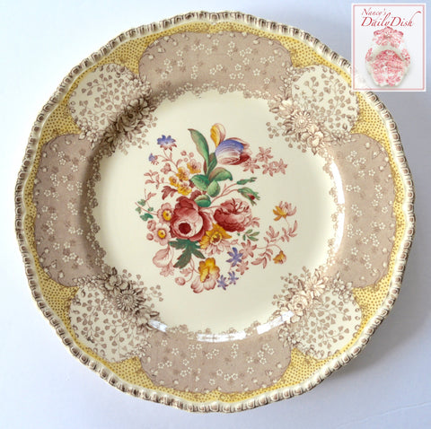 RARE Vintage English Polychrome Brown & Red Two Color Transferware Plate Royal Doulton Tulips Roses Flowers 10.25""