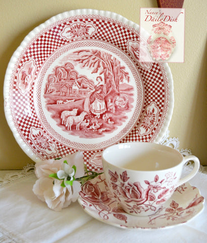 "9"" Red Transferware Plate Gingham Check & French / English Farm Scene Sheep Turkey Cows Chickens"