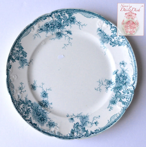 Teal Green - Blue trailing Dianthus Floral English Transferware Embossed Plate Circa 1900