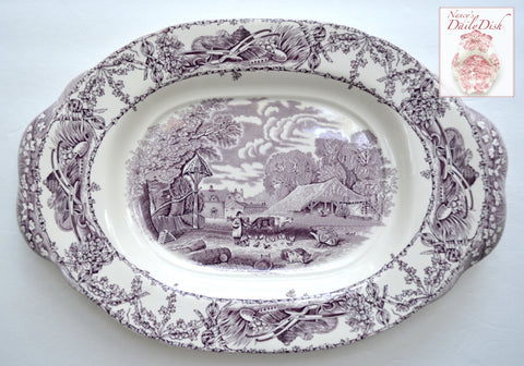 "17"" Purple Transferware Platter Tab Handled Rural Scenes Girl Bee Skep RARE"
