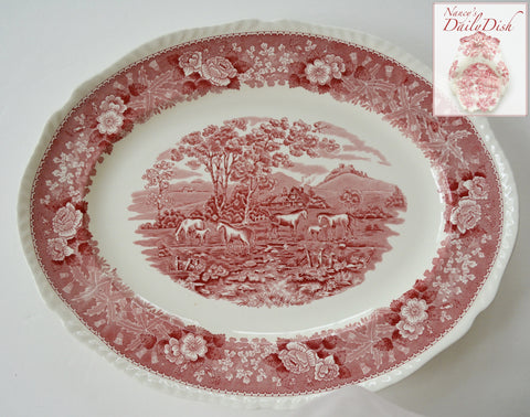 "Vintage BIG 17"" Red Transferware Platter Horses & Foals in a Pasture French Farmhouse Decor"