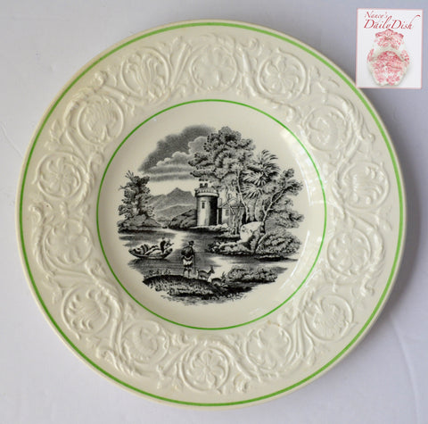 Vintage Wedgwood Black Toile Transferware Plate Billy Goat & Row Boat Embossed Sunflower Border Green Trim