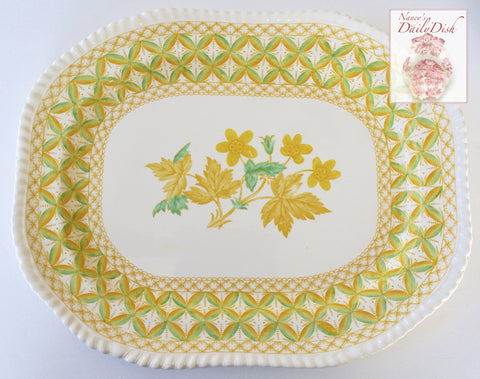 Rare Yellow Transferware Platter Spode Copeland Lattice and Geraniums Flowers