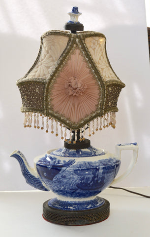 Crown Ducal Blue Transferware Pilgrim Teapot Lamp Indian Spout / The Mayflower Colonial Times