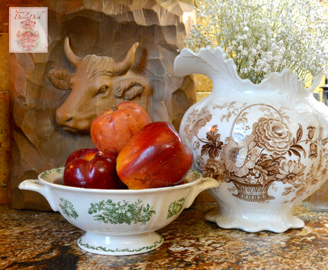 Vintage Green English Transferware Handled Pedestal Fruit Bowl Masons Harvest Fruits in a Basket