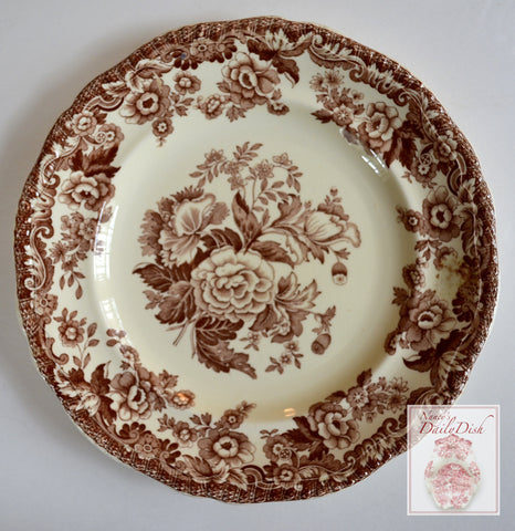 Vintage Copeland Spode Brown & Cream Transferware Floral Roses Transferware Plate Toile Roses