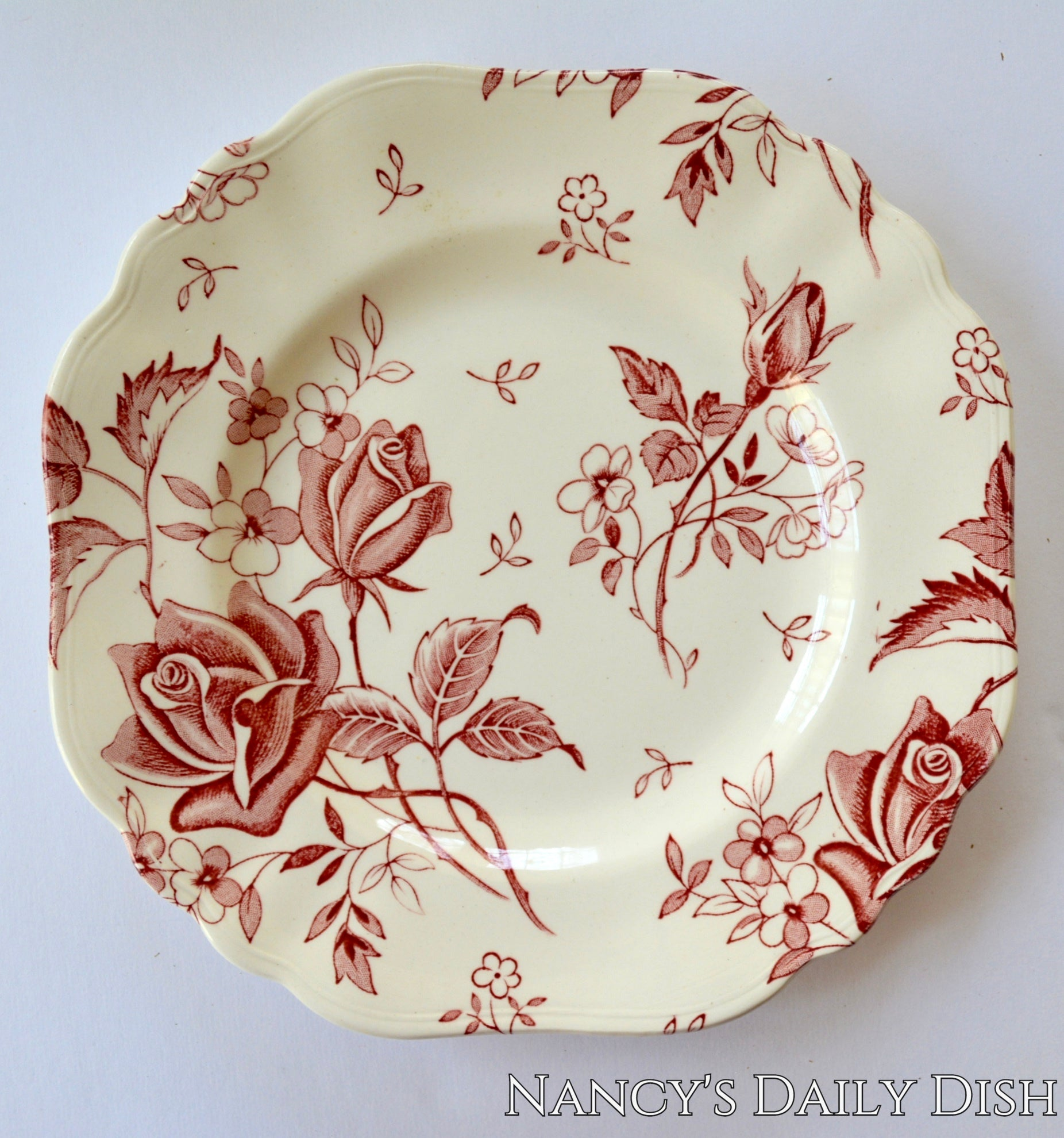 Red Square Plate Tudor Roses Rosebuds Vintage English Transferware Toile Flowers & Red Square Plate Tudor Roses Rosebuds Vintage English Transferware Toi