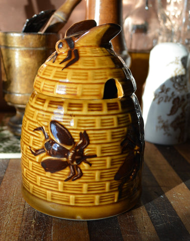 Vintage Golden Majolica Honey Bee Pot Basket Weave w/ Bee on Lid / Jam Jar