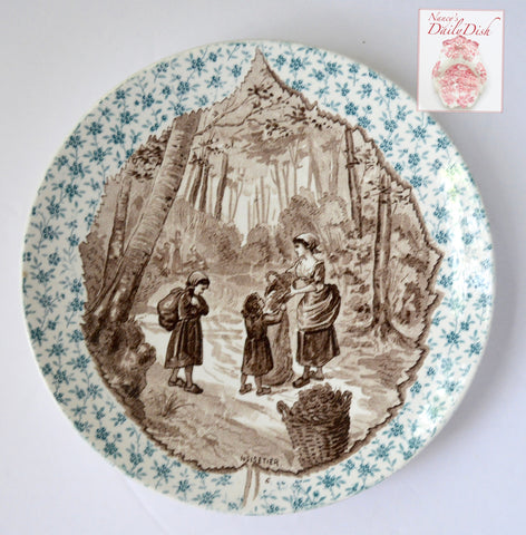 Bi Color Antique Teal Blue & Brown Transferware Plate Hazel Leaf Inset Harvest Scene Harvest Noisetier