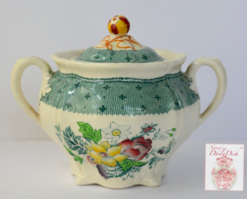 Vintage English China Teal Green Transferware Dual Handled Tea Caddy Sugar Bowl Floral Bouquet Roses Hand Painted Flowers Cottage
