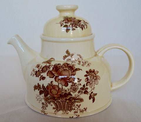 Polychrome Brown Transferware Charlotte Tea Pot Victorian Basket of Roses
