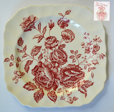 Vintage Red Toile Transferware Square Plate English Country Roses