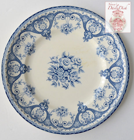 "Blue English Transferware 8"" Rimmed Salad Bowl Shabby Victorian Roses & Scrolls"