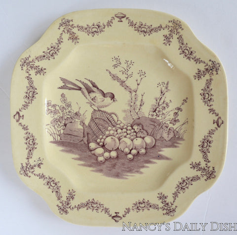 Antique Adams Lavender Purple English Transferware Square Plate Bird and Basket of Fruit