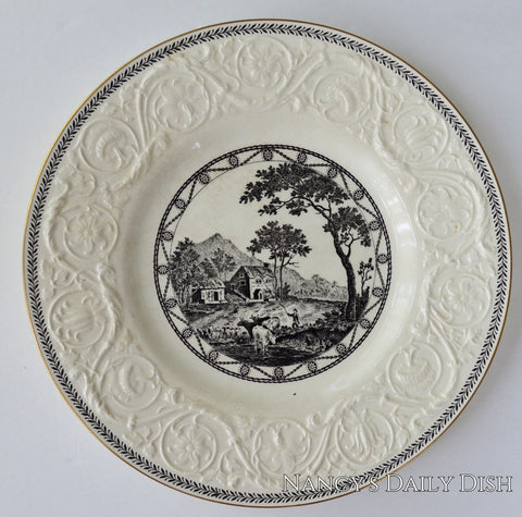 Antique Creamware Wedgwood Black Transferware Plate Grazing Cows & Sheep Farm Cottage Embossed Border