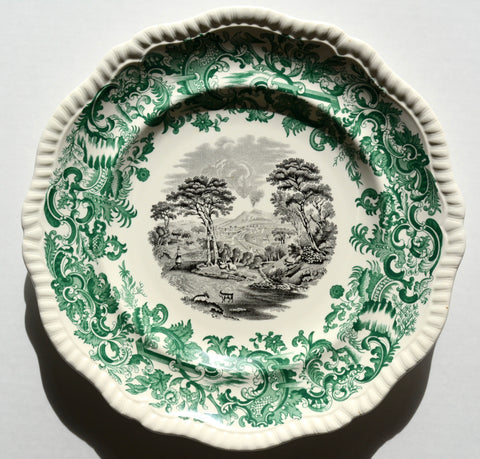 Two Color Transferware Plate Green & Black Spode Copeland Beverley Mt. Vesuvius Naples Italy