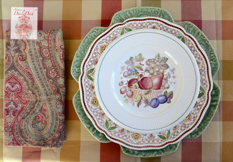 Vintage Wedgwood Hand Painted Basket of Fruit Red Transferware Salad Plate Border