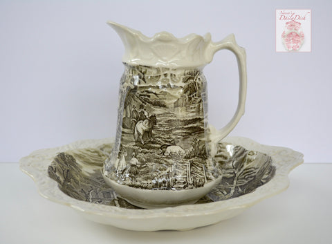 Black English Transferware Ironstone Embossed Handled Bowl and Pitcher Rural Scenery