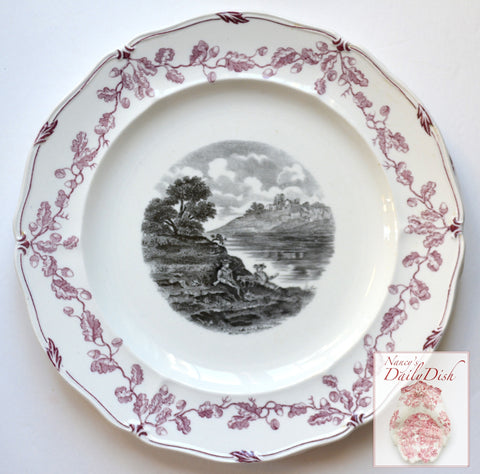 Vintage Wedgwood Hunting Scene Plate w/ Dogs & Scenic River Black Plum Two Color Transferware #3