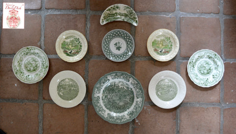 9 Mix n Match Vintage Green English Transferware Plates INSTANT WALL DISPLAY Collection