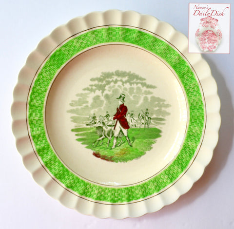 Multicolor Bright Green Transferware Plate J F Herring English Hunt Scene w/ Basket Weave Border