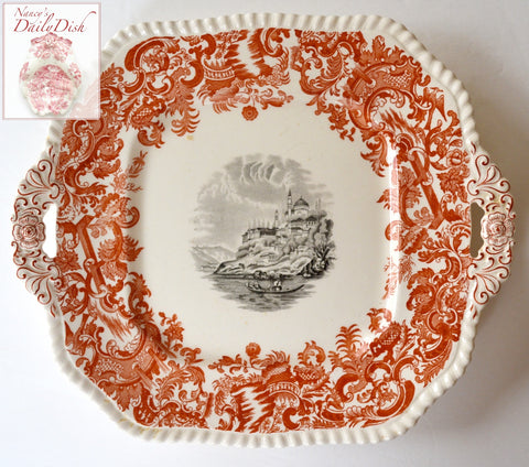 Vintage 2 Color Transferware Platter Rust Red & Black Spode Copeland European Scenery