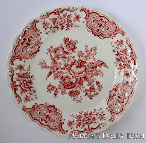 Ridgway Red Toile English Transferware Plate Roses Birds Windsor Asiatic Pheasants 8""