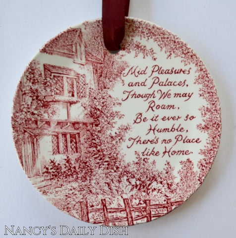 Red Toile Transferware Plaque English Ironstone There's No Place Like Home - Poem