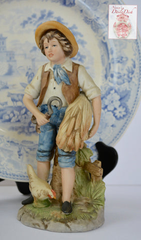 Vintage Figurine French Country Peasant Boy Carrying Wheat Bundle Sickle & Chicken