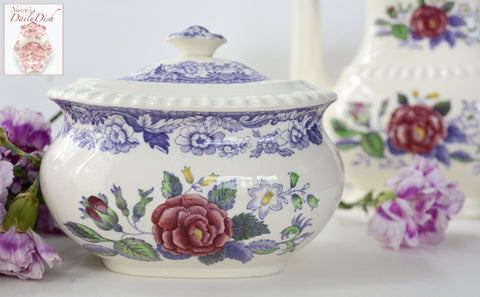 Vintage Spode Mayflower Periwinkle Purple  / Lavender Transferware Covered Sugar Bowl Hand Painted Pink Flowers
