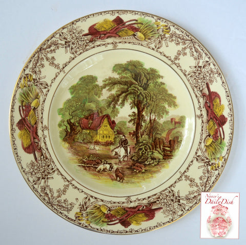 RARE Hunt Scene Cottage Brown Polychrome Transferware Plate Pastoral Davenport AJ Wilkinson Gold Trim