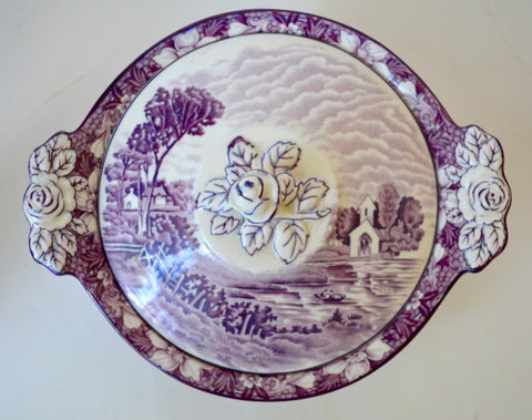 Circa 1930 Purple Transferware Tureen Covered Dish Casserole Finial Rose Handle w/ Pastoral Scenery Wood and Sons