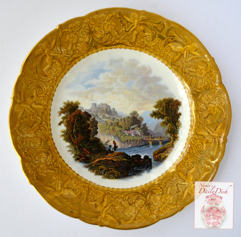 Antique Pastoral Fishing Scene Prattware Brown Transferware Plate Gold Cherubs Border
