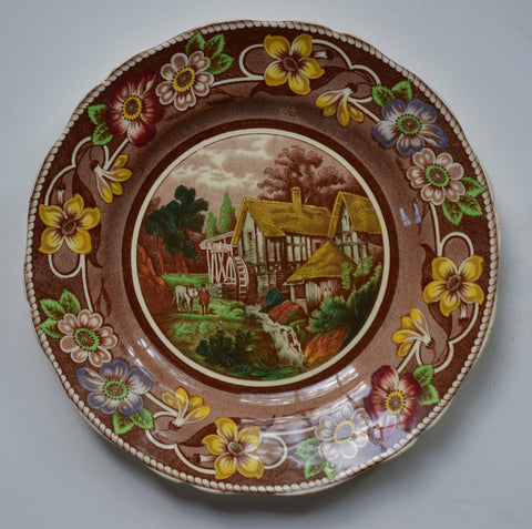 Brown Transferware Polychrome Handpainted Plate Coalport Pastoral Pastoral Watermill Thatched Cottage Stream Flowers