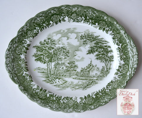 Green Transferware Platter English Country Cottage Ironstone Tab Handles