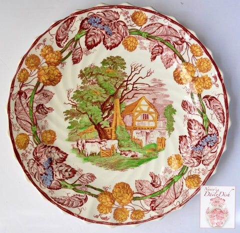 Spode Rural Scenes Red Polychrome Transferware Plate Cattle Cows Farm Cottage Hops Border Hard to Find