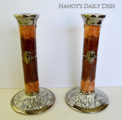 RARE Vintage Faux Bois Black Transferware Candle Holders Sticks Silver Shield Wood Grain Antler Shaped Details STUNNING
