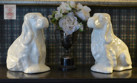 Vintage Pair English Country Creamy White Cocker Spaniel Dog Planter / Flower Pots