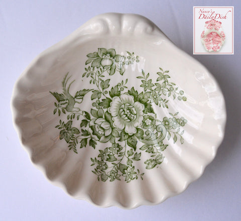 Masons Vintage  Green Transferware Shell Shape Bowl Soap Dish Roses Bird Butterfly