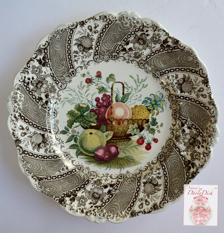 STUNNING & VERY RARE William Smith & Co ' WEDGeWOOD ' Fruit Basket Multi Brown Faux Bois & Floral Transferware Plate