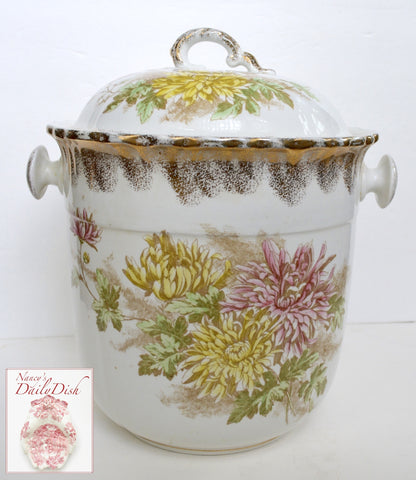Antique Edwardian 1800's Polychrome Transferware Dual Handled Slop Pail Maddock Chrysanthemum