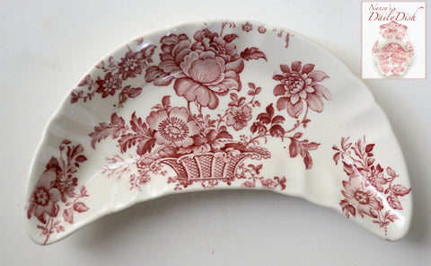 Red and White Floral Transferware Crescent Bone Dish Charlotte Basket of Flowers as seen w/ Caviar Taco Dish at Rose.Rabbit.Lie