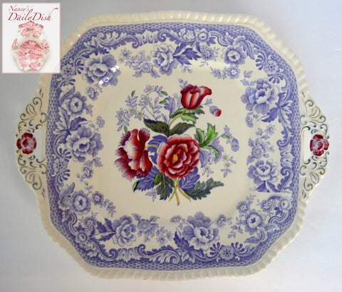 Square Tab Handled Spode Mayflower Periwinkle Purple  / Lavender Transferware Platter w/ Hand Painted Pink Roses