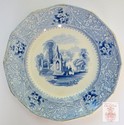 Antique 12 SidedLight Blue  English Transferware Romantic Staffordshire Plate Circa 1850 Chateau on Lake Victorian Scrolls Roses & Scenery