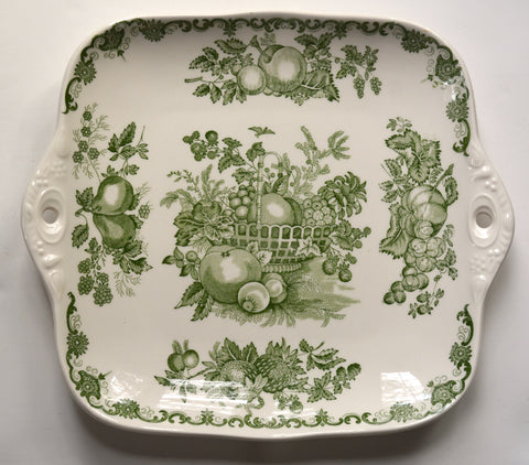 Green English Transferware Tab Handled Tray / Platter Masons with Harvest Fruits in a Basket