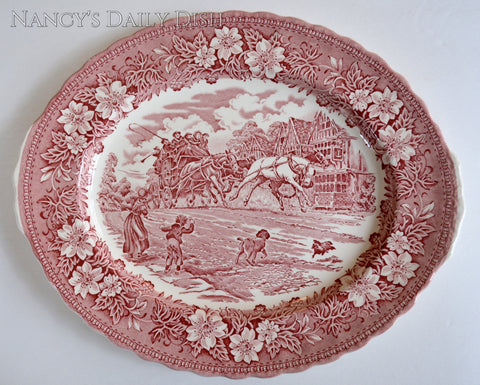 Red Tab Handle Transferware Platter Coaching Taverns English Post Office Geese English Ironstone