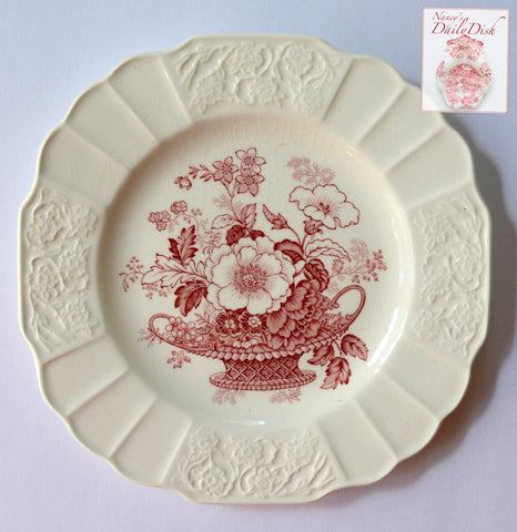 Floral Square Vintage Red Transferware Plate Flowers w/ Embossed Border Charlotte